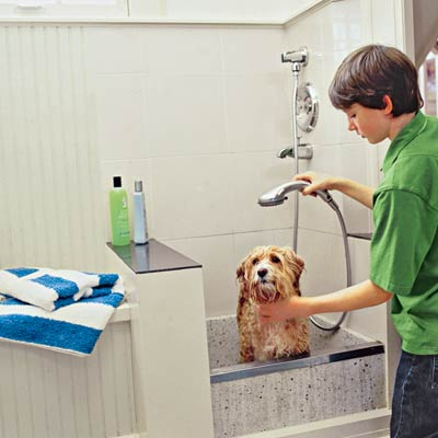 Tile surround for canine (dog) washing station