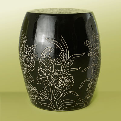 a black ceramic garden stool with modern floral pattern