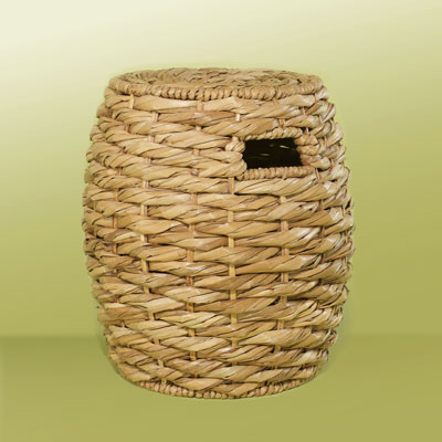 a rattan garden stool from woven sea-grass