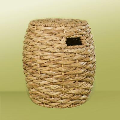 a rattan garden stool from woven sea-grass