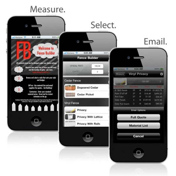 Top 100 Products 2012 outdoor living fence builder mobile app