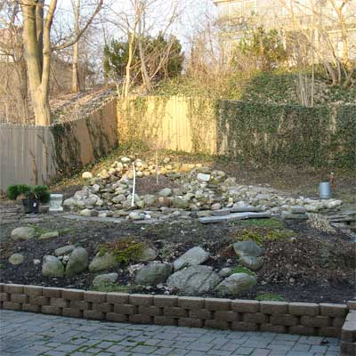 Koi Pond and Waterfalls: Before for the this old house reader remodel yard and garden winners 2012