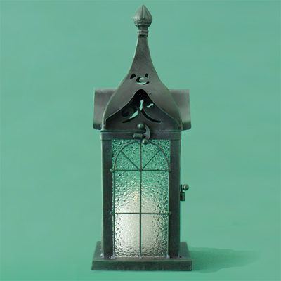 green painted iron metal candle lantern