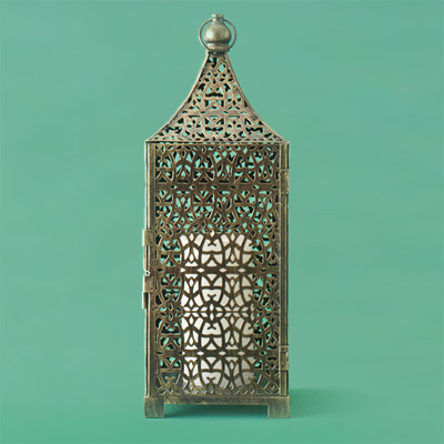 gold filigree iron metal candle lantern