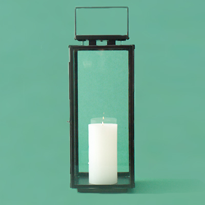 Steel with a weathered-zinc finish metal candle lantern