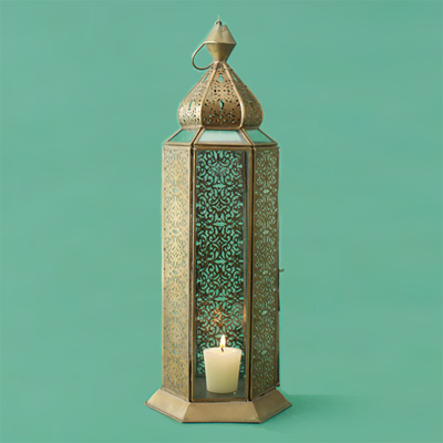 Iron with a patina finish metal candle lantern