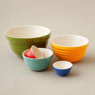 yellowware type ceramic nester bowls