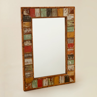 mirror with border of reclaimed beadboard paneling