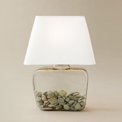 vase-shaped glass atrium lamp with white shade