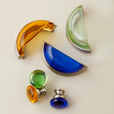 colorful glass knobs and bin pulls