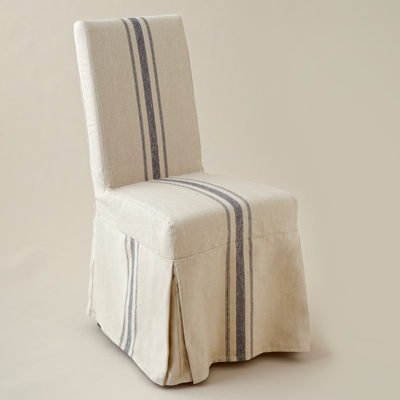 side chair with linen slipcover and box-pleated corners