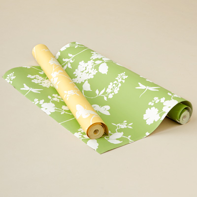 yellow and green wallpaper with white floral and butterfly print