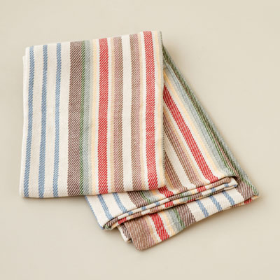 striped woven cotton throw