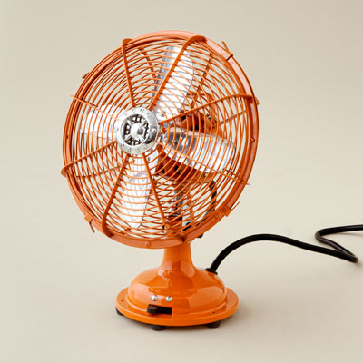 orange vintage-style desk fan