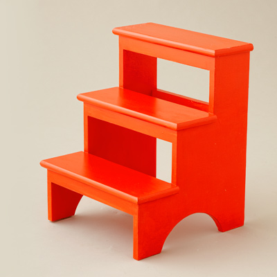 red painted pine step stool