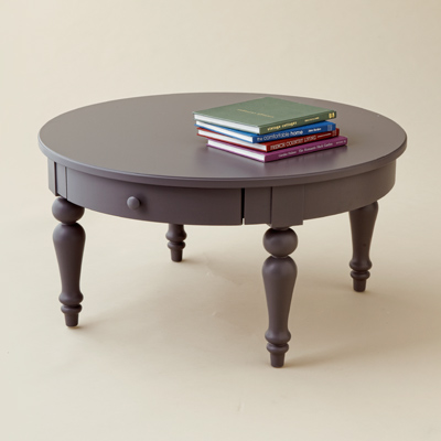 warm gray coffee table with spindle legs