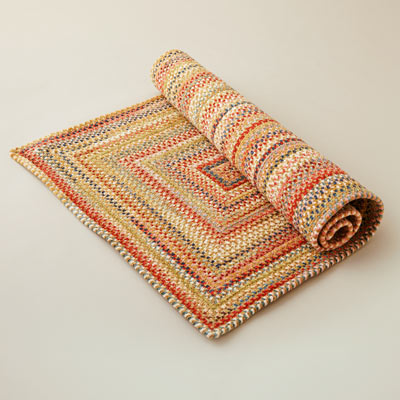 multicolor rectangular chenille braided rug