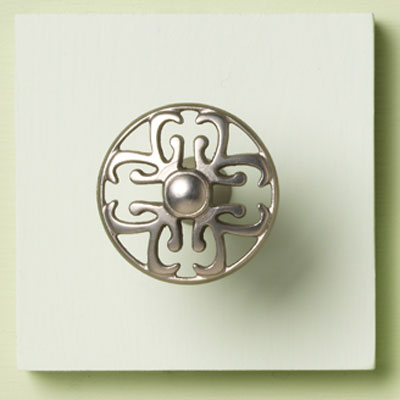 zinc cabinet knob with filigree design