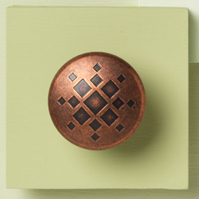 zinc cabinet knob with copper square design