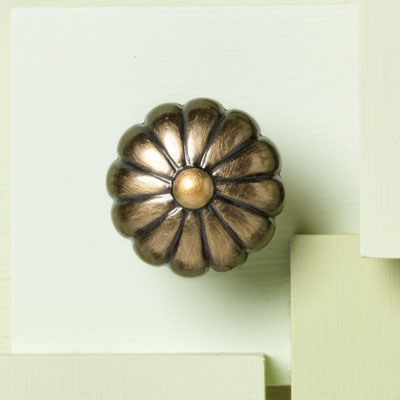 brass cabinet knob with melon design