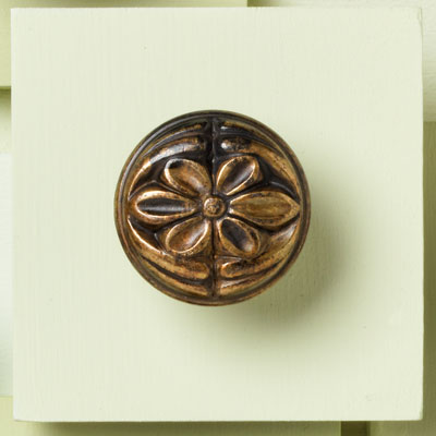 brass cabinet knob with floral design