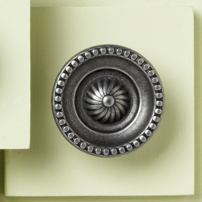 zinc cabinet knob with beaded design