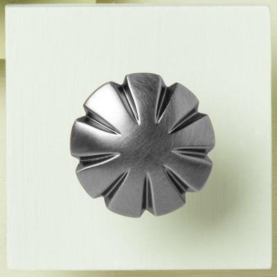 zinc cabinet knob with a fluted design