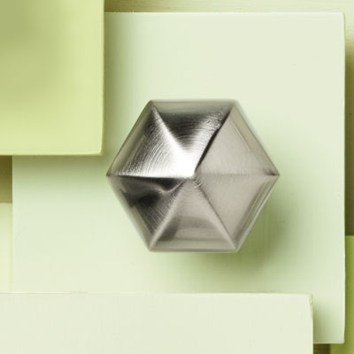 zinc cabinet knob with a hexagonal design