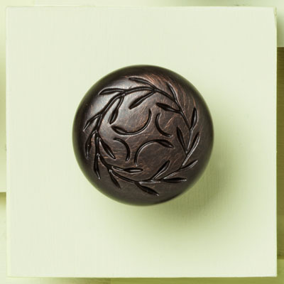 zinc cabinet knob with a vine design