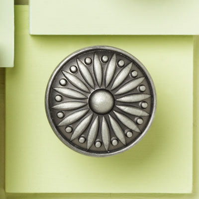 zinc cabinet knob with a sunburst design