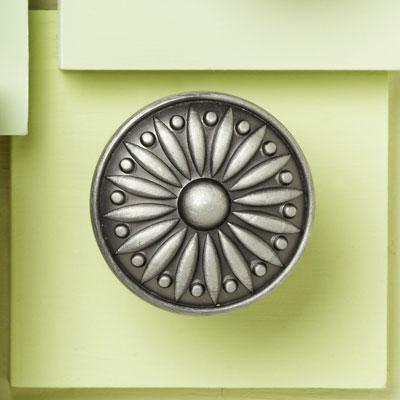 zinc cabinet knob with a sunburst design