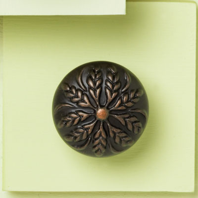 zinc cabinet knob with a wheat design