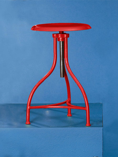 Painted iron  backless stool from this old house shopping