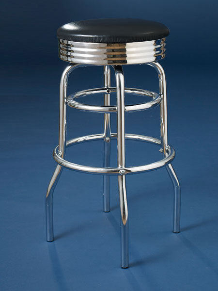 Chrome-plated steel and vinyl upholstery backless stool from this old house shopping
