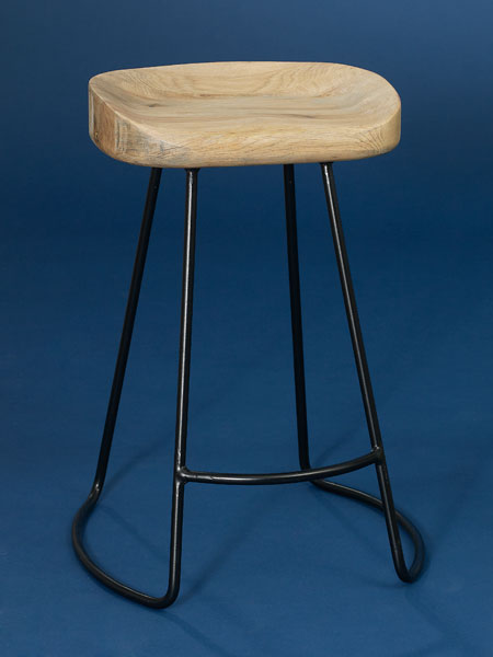Iron and unfinished oak backless stool from this old house shopping