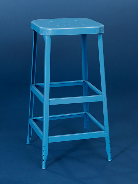 Painted steel backless stool from this old house shopping