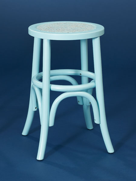 Painted birch and caning backless stool from this old house shopping
