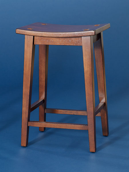 Stained rubberwood backless stool from this old house shopping