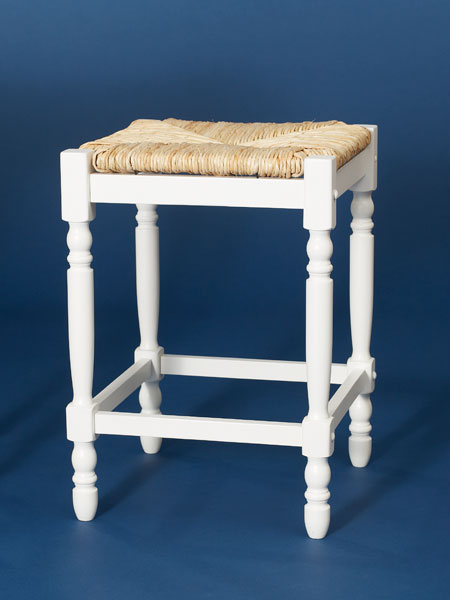 Painted rubberwood and rush backless stool from this old house shopping