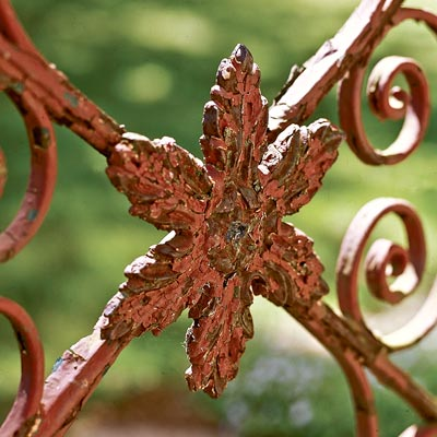 a leaf pattern on a rusted iron gate shot close up