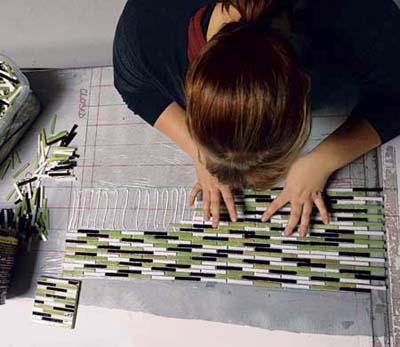 textiled glass mosaic tiles