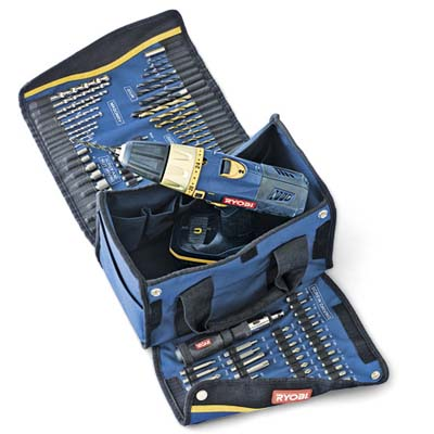 compact, tote polyester tool bag unrolls to display 100 clearly labeled drilling and driving bits