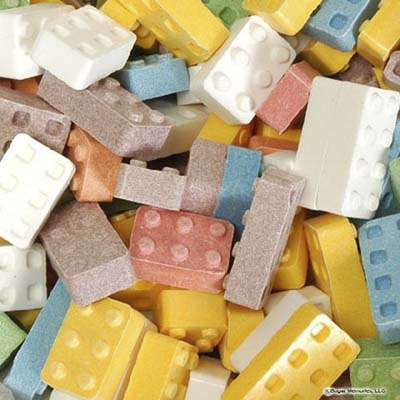 Lego-style candy blocks from Groovy Candies