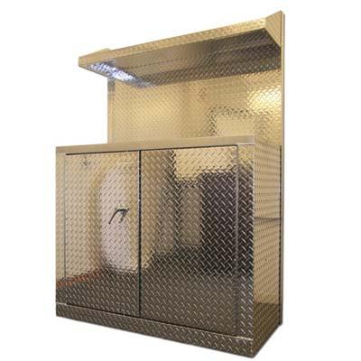 Silver metal garage cabinet