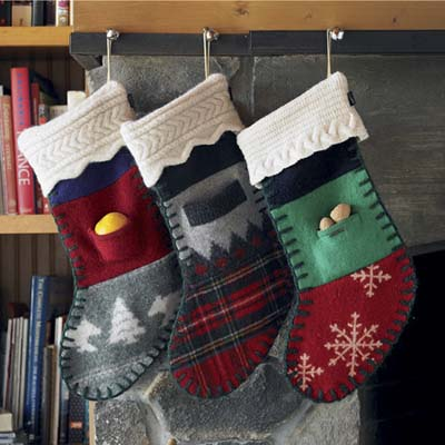stockings made from recycled sweaters