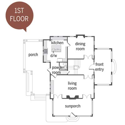floor plans of a Craftsman remodel showing the first floor