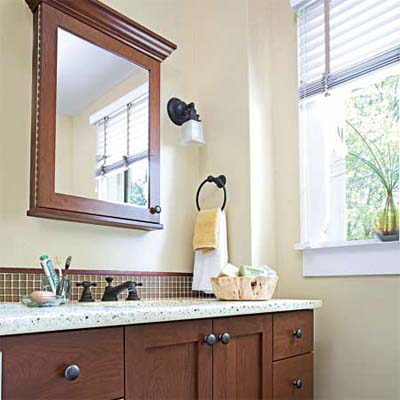 eco-friendly bath redo with sustainably-harvested cherry wood vanity 
