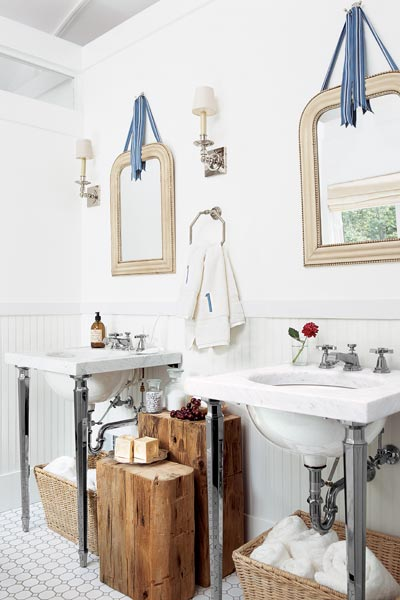 get this look updated victorian style bath with exposed plumbing under sinks, mosaic tile floor