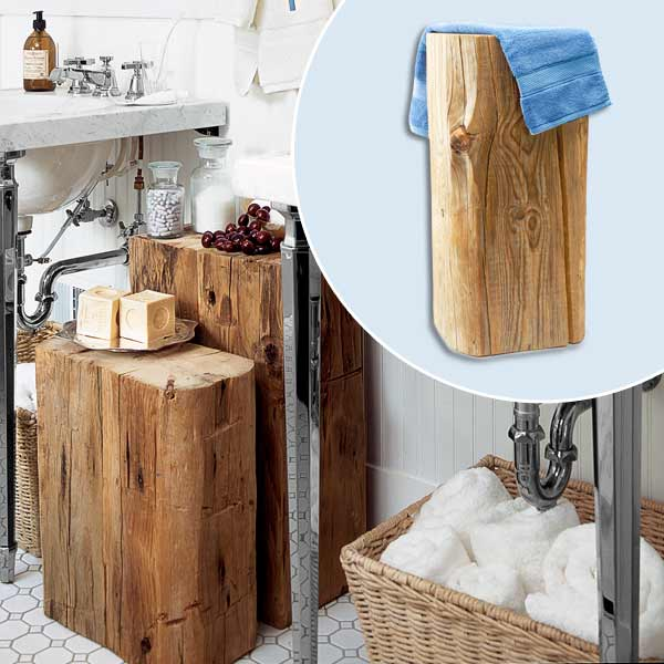 get this look updated victorian style bath with reclaimed tree stump side table