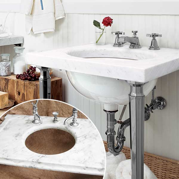 get this look updated victorian style bath with vintage Carrara-marble top sink